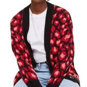 Topshop black red leopard cardigan button soft